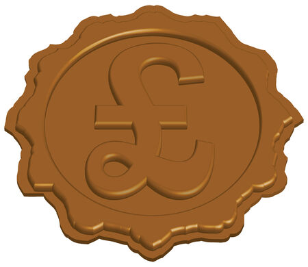 sealing: stylized sealing wax stamp with pound sign, vector illustration