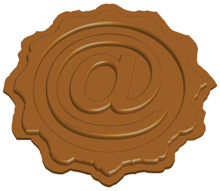 sealing: stylized sealing wax stamp with e-mail sign, vector illustration