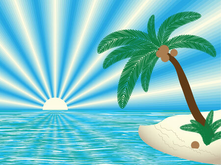 tropical landscape, vector illustration Stock Vector - 6199590