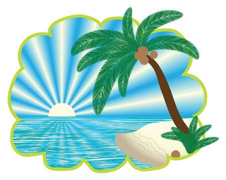 tropical landscape in figured border, vector illustration