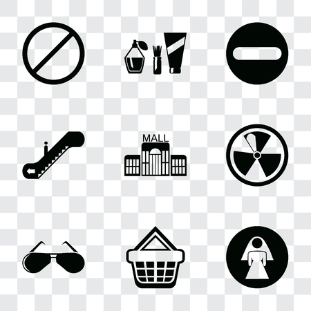 Set Of 9 simple transparency icons such as Restroom, Shopping basket, Glasses, Radiation, Mall, Escalator, Forbidden, Cosmetics, can be used for mobile, pixel perfect vector icon pack on 일러스트