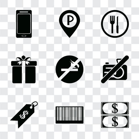 Set Of 9 simple transparency icons such as Money, Barcode, Price, No camera, smoking, Gift, Restaurant, Parking, Smartphone, can be used for mobile, pixel perfect vector icon pack on transparent