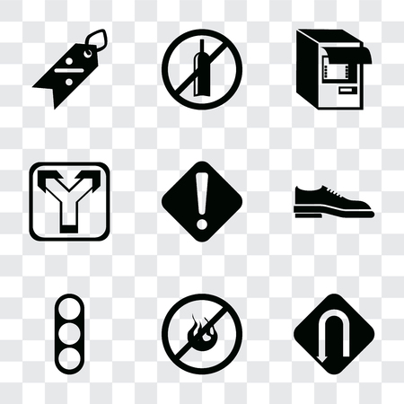 Set Of 9 simple transparency icons such as Turn, No fire, Traffic light, Shoes, Warning, Junction, Atm, alcohol, Discount, can be used for mobile, pixel perfect vector icon pack on transparent Illustration
