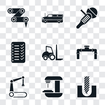 Set Of 9 simple transparency icons such as Drill, Machine, Robotic arm, Pipe, Forklift, Planning, Sanding machine, Cargo truck, Robot can be used for mobile, pixel perfect vector icon pack on