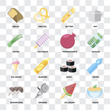 Set Of 16 icons such as Pasta, Ice cream, Grinder, Mushrooms, Water, Bread, Chives, Pomegranate on transparent background, pixel perfect Illustration
