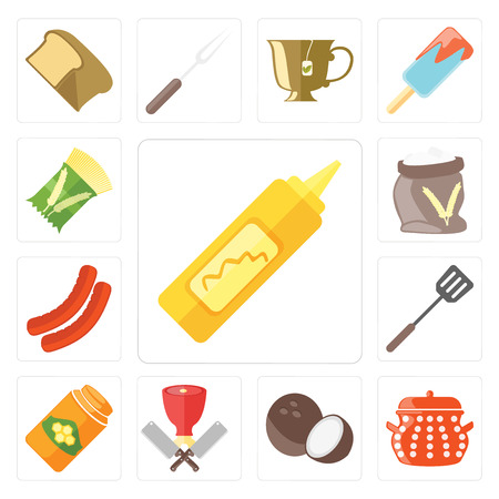 Set Of 13 simple editable icons such as Mustard, Pot, Coconut, Butcher, Honey, Spatula, Sausage, Flour, Pasta, web ui icon pack