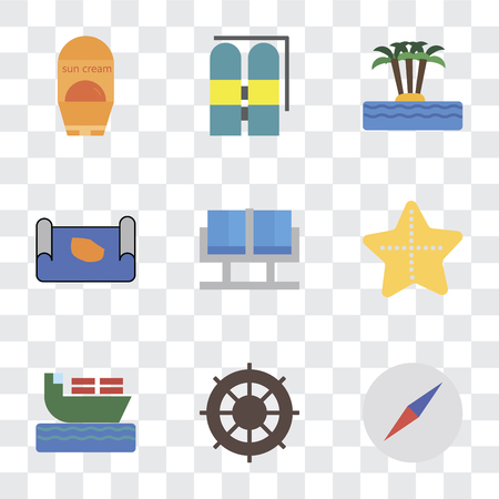Set Of 9 simple transparency icons such as Compass, Helm, Ship, Starfish, Waiting room, Map, Island, Aqualung, Sun protection, can be used for mobile, pixel perfect vector icon pack on transparent Illustration