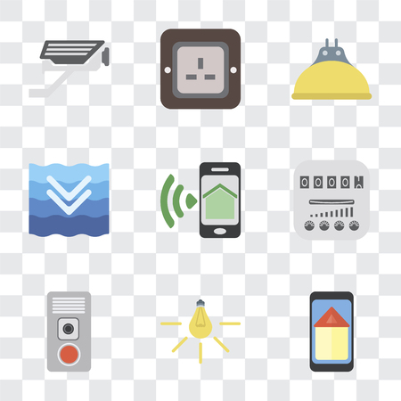 Set Of 9 simple transparency icons such as Smart home, Light, Intercom, Meter, Smartphone, Deep, Lightbulb, Plug, Cctv, can be used for mobile, pixel perfect vector icon pack on transparent Vettoriali