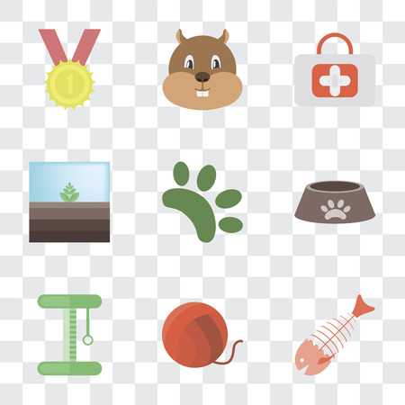 Set Of 9 simple transparency icons such as Fish bone, Yarn, Platform, Dog food, Animal, Terrarium, First aid, Hamster, Winner, can be used for mobile, pixel perfect vector icon pack on transparent