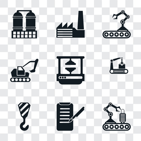 Set Of 9 simple transparency icons such as Conveyor, Planing, Crane, Machine press, Excavator, Factory, Refinery, can be used for mobile, pixel perfect vector icon pack on Stock Illustratie
