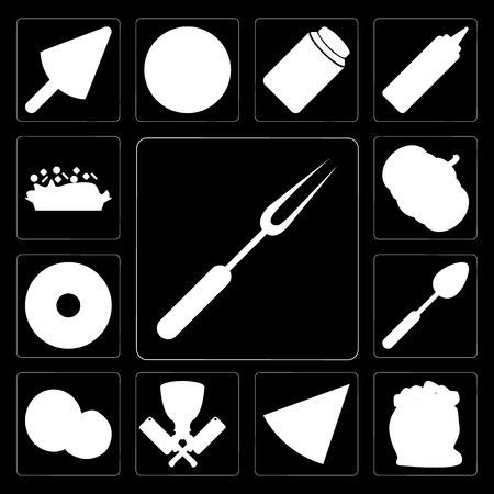 Set Of 13 simple editable icons such as Fork, Flour, Pizza, Butcher, Coconut, Spoon, Doughnut, Pumpkin, Risotto on black background
