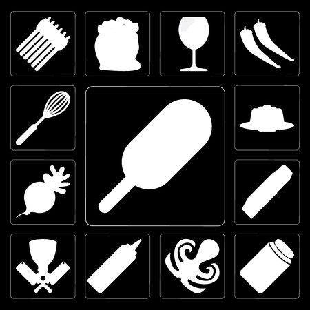 Set Of 13 simple editable icons such as Ice cream, Honey, Octopus, Mustard, Butcher, Butter, Radish, Jelly, Whisk on black background