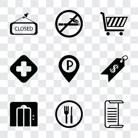 Set Of 9 simple transparency icons such as List, Restaurant, Lift, Price, Parking, Hospital, Shopping cart, No smoking, Closed, can be used for mobile, pixel perfect vector icon pack on transparent