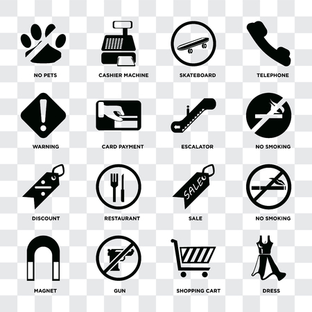 Set Of 16 icons such as Dress, Shopping cart, Gun, Magnet, No smoking, pets, Warning, Discount, Escalator on transparent background, pixel perfect