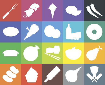 Set Of 20 icons such as Butcher, Onion, Ice cream, Cupcake, Potatoes, Pepper, Pear, Sushi, Pie, Grinder, Dairy, Fork, Doughnut, web UI editable icon pack, pixel perfect Ilustrace