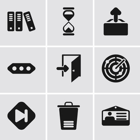 Set Of 9 simple editable icons such as Id card, Trash, Skip, Radar, Exit, More, Upload, Hourglass, Archive, can be used for mobile, pixel perfect vector icon pack Illustration
