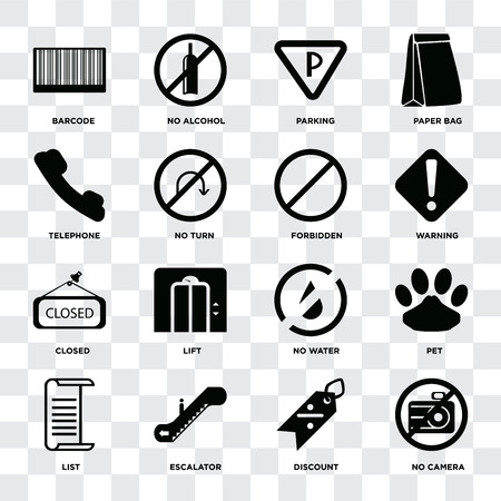 Set Of 16 icons such as No camera, Discount, Escalator, List, Pet, Barcode, Telephone, Closed, Forbidden on transparent background, pixel perfect