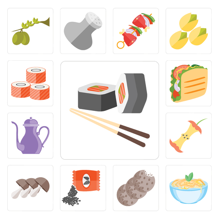 Set Of 13 simple editable icons such as Sushi, Pasta, Cookies, Seeds, Mushrooms, Apple, Teapot, Taco, web ui icon pack Illustration