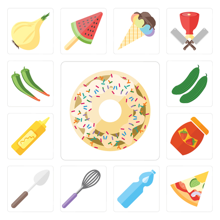 Set Of 13 simple editable icons such as Doughnut, Pizza, Water, Whisk, Spoon, Jam, Mustard, Cucumber, Pepper, web ui icon pack