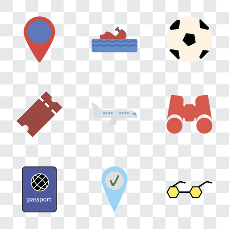 Set Of 9 simple transparency icons such as Sunglasses, Check in, Passport, Binoculars, Airplane, Tickets, Ball, Water craft, Location, can be used for mobile, pixel perfect vector icon pack on