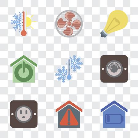 Set di 9 semplici icone di trasparenza come Smart home, spina, dimmer, temperatura, luce, ventola, termostato, può essere utilizzato per dispositivi mobili, pixel perfetto vettore icon pack su trasparente Vettoriali