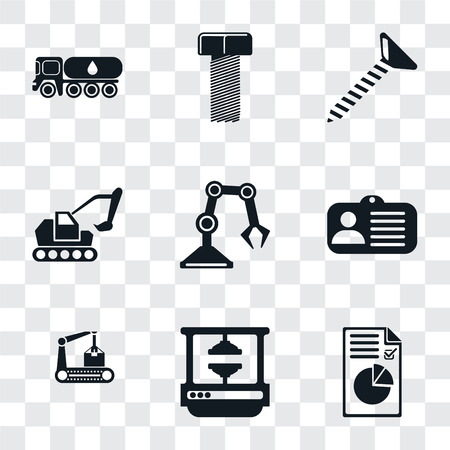 Set Of 9 simple transparency icons such as Plan, Machine press, Conveyor, Id card, Industrial robot, Excavator, Screw, Bolt, Tank truck, can be used for mobile, pixel perfect vector icon pack on