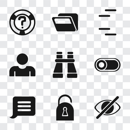 Set Of 9 simple transparency icons such as Hide, Locked, Notification, Switch, Binoculars, User, Folder, Help, can be used for mobile, pixel perfect vector icon pack on transparent background