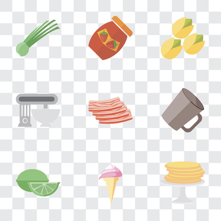 Set Of 9 simple transparency icons such as Pancakes, Ice cream, Lime, Mug, Bacon, Mixer, Pistachio, Jam, Chives, can be used for mobile, pixel perfect vector icon pack on transparent background