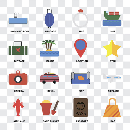 Set Of 16 icons such as Bag, Passport, Sand bucket, Airplane, Swimming pool, Suitcase, Camera, Location on transparent background, pixel perfect