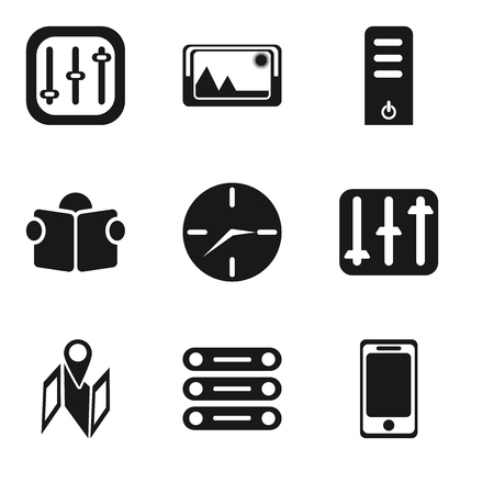 Set Of 9 simple editable icons such as Smartphone, Database, Map, Controls, Clock, Reading, Server, Picture, can be used for mobile, pixel perfect vector icon pack