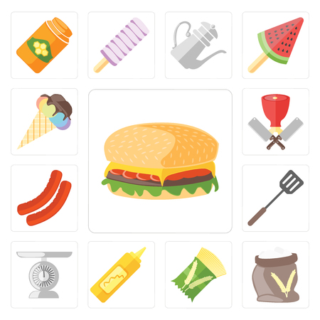 Set Of 13 simple editable icons such as Hamburguer, Flour, Pasta, Mustard, Scale, Spatula, Sausage, Butcher, Ice cream, web ui icon pack