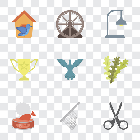 Set Of 9 simple transparency icons such as Scissors, Net, Cat food, Seaweed, Bird, Trophy, Lamp, Hamster ball, Bird house, can be used for mobile, pixel perfect vector icon pack on transparent Stock Vector - 111924369