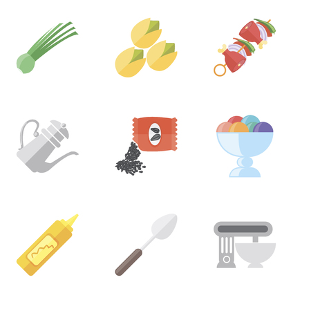 Set Of 9 simple editable icons such as Mixer, Spoon, Mustard, Ice cream, Seeds, Teapot, Kebab, Pistachio, Chives, can be used for mobile, pixel perfect vector icon pack