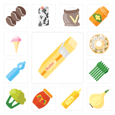 Set Of 13 simple editable icons such as Butter, Onion, Mustard, Jam, Cauliflower, Asparagus, Water, Doughnut, Ice cream, web ui icon pack