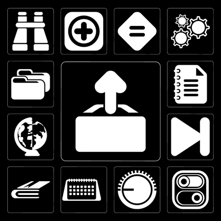 Set Of 13 simple editable icons such as Upload, Switch, Volume control, Calendar, Notebook, Next, Worldwide, Notepad, Folder on black background