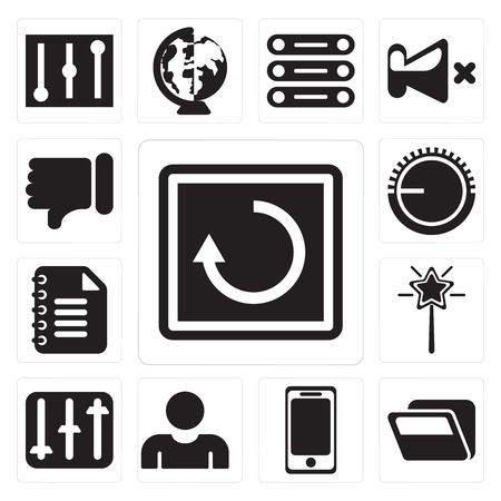 Set Of 13 simple editable icons such as Restart, Folder, Smartphone, User, Controls, Magic wand, Notepad, Volume control, Dislike, web ui icon pack Stock Vector - 111924373