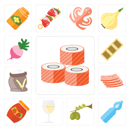 Set Of 13 simple editable icons such as Sushi, Water, Olives, Glass, Jam, Bacon, Flour, Biscuit, Radish, web ui icon pack