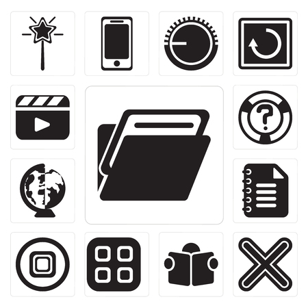 Set Of 13 simple editable icons such as Folder, Multiply, Reading, Menu, Stop, Notepad, Worldwide, Help, Video player, web ui icon pack Vector Illustration
