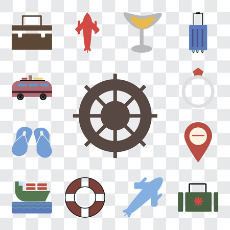 Set Of 13 transparent editable icons such as Helm, Suitcase, Plane, Lifebuoy, Ship, Map, Flip flops, Ring, Minivan, web ui icon pack, transparency set