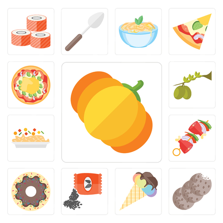 Set Of 13 simple editable icons such as Pumpkin, Cookies, Ice cream, Seeds, Doughnut, Kebab, Risotto, Olives, Pizza, web ui icon pack