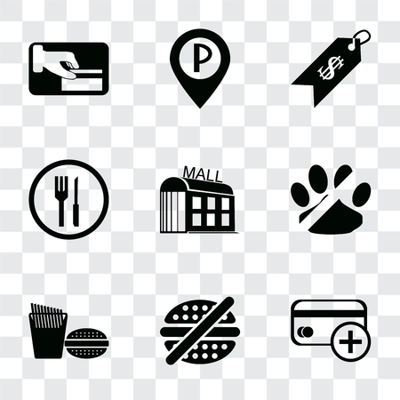 Set Of 9 simple transparency icons such as Cit card, No fast food, Fast pets, Mall, Restaurant, Price, Parking, Card payment, can be used for mobile, pixel perfect vector icon pack on