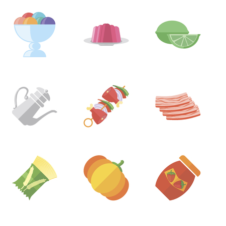Set Of 9 simple editable icons such as Jam, Pumpkin, Pasta, Bacon, Kebab, Teapot, Lime, Jelly, Ice cream, can be used for mobile, pixel perfect vector icon pack