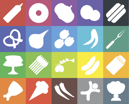 Set Of 20 icons such as Ice cream, Gingerbread, Pepper, Ham, Hot dog, Pickles, Olives, Pancakes, Onion, Peas, Mustard, Fork, Pumpkin, web UI editable icon pack, pixel perfect Illustration