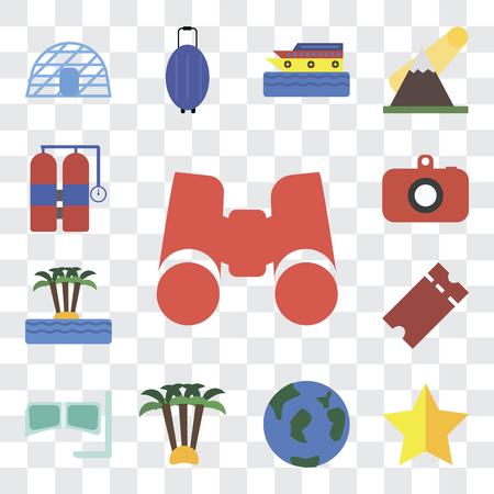 Satz von 13 transparenten bearbeitbaren Symbolen wie Fernglas, Stern, Reisen, Palme, Schnorchel, Tickets, Insel, Kamera, Aqualung, Web-UI-Icon-Pack, Transparenz-Set Vektorgrafik