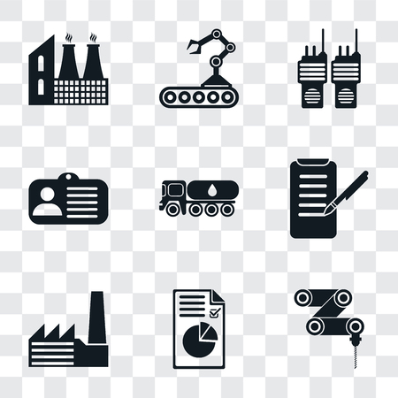 Set Of 9 simple transparency icons such as Drilling machine, Plan, Factory, Planing, Tank truck, Id card, Walkie talkie, Conveyor, can be used for mobile, pixel perfect vector icon pack on