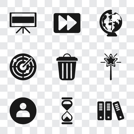 Set Of 9 simple transparency icons such as Archive, Hourglass, User, Magic wand, Garbage, Radar, Worldwide, Fast forward, Television, can be used for mobile, pixel perfect vector icon pack on