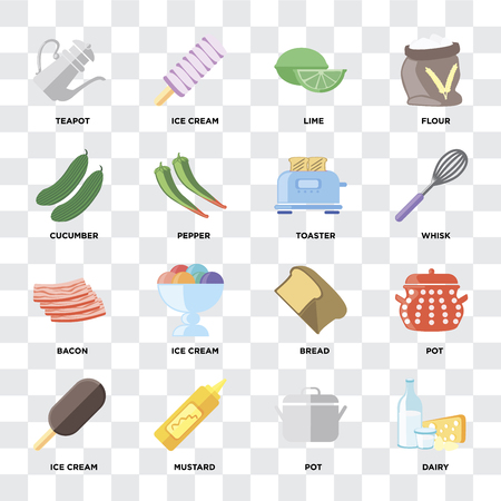 Set Of 16 icons such as Dairy, Pot, Mustard, Ice cream, Teapot, Cucumber, Bacon, Toaster on transparent background, pixel perfect Ilustrace