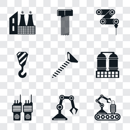 Set Of 9 simple transparency icons such as Conveyor, Industrial robot, Walkie talkie, Refinery, Screw, Crane, Drilling machine, Bolt, Factory, can be used for mobile, pixel perfect vector icon pack