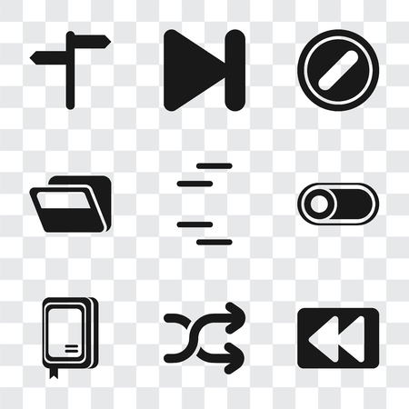 Set Of 9 simple transparency icons such as Rewind, Shuffle, Notebook, Switch, Folder, Forbidden, Next, , can be used for mobile, pixel perfect vector icon pack on transparent background Illustration