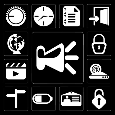 Set Of 13 simple editable icons such as Speaker, Unlocked, Id card, Battery, , Wireless internet, Video player, Locked, Worldwide on black background